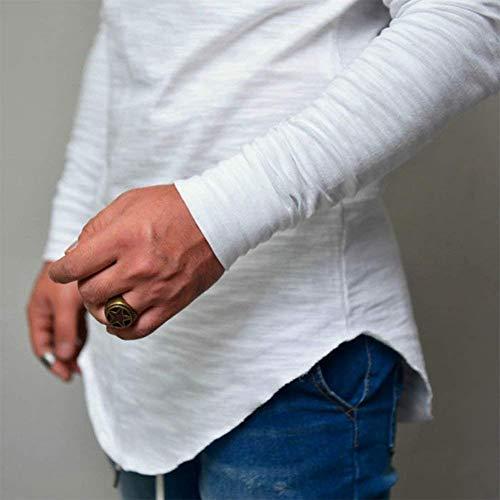 Básica Color Cuello Manga Blanco Hombre Larga Camisa Sudadera Para Tops Top Con De Irregular Sólido Redondo Camiseta qBxnFFt8