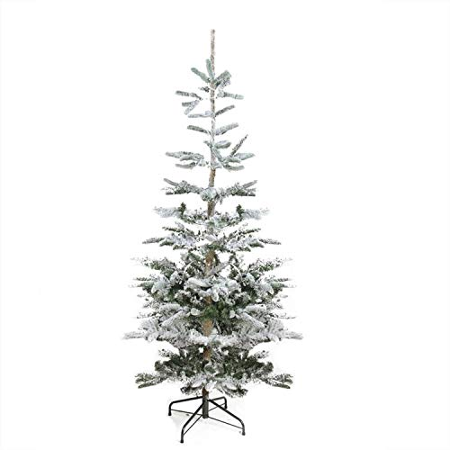 (Christmas Tree Decoration Classic Flocked Noble Fir Pine Family Xmas Tree Elegant Decor Xmas Tree Unlit Durable Metal Stand 9')