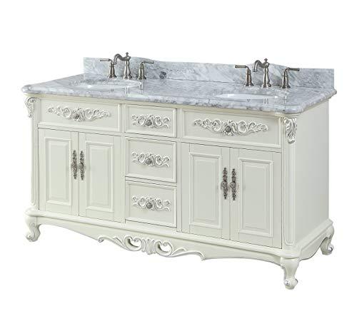 "64"" Benton Collection Verondia Vintage Style Vanilla Beige Bathroom Vanity ()"