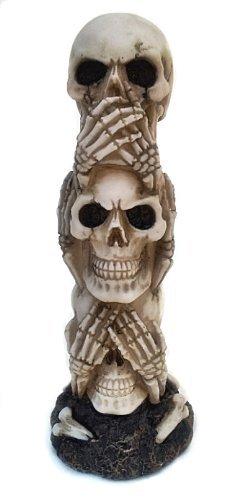 The Hear-no, See-no, Speak-no Evil Skull Statue Sculpture Figure Skeleton Limited