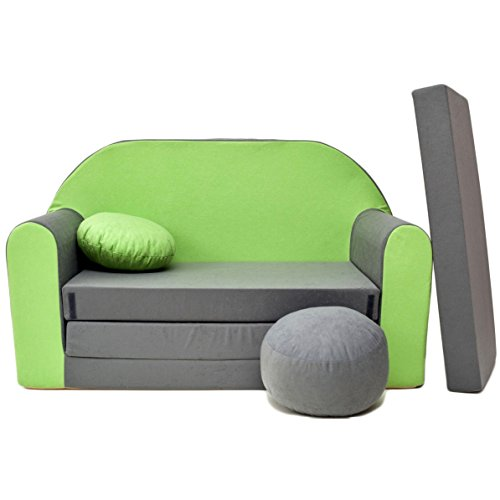 Kindersofa Bettfunktion 3in1 Sofa Kindersessel Ausziehbett Bett A1 grün-grau UNI