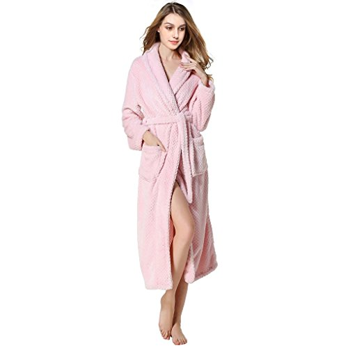 aingycy Bathrobes Coral Velvet Pajamas Couple Robe Lengthened Nightwear (Pink Solid Cotton Flannel)