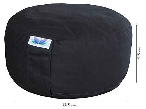 Subtle Serenity Yoga Zafu Meditation Cushion & Free Drawstring Tote Organic Cotton Buckwheat Hull Filled Meditation Pillow