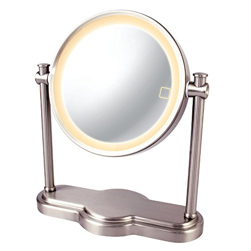 Ovente LED Lighted Makeup Mirror, SmartTouch 3-Tone Lighting (Daylight, Cool, Warm),Tabletop Vanity Mirror, Battery or USB Adapter Operated, 1x/10x Magnification, 8 inch, Nickel Brushed (MHT80BR1X10X)