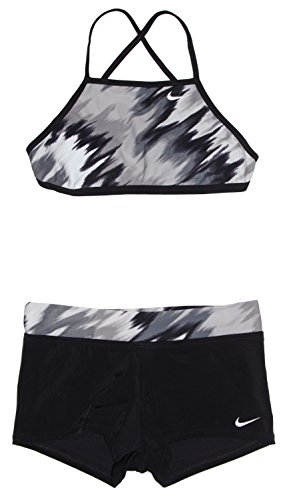 (NIKE Women's Bikini 2-Piece Tie Back Swimsuit Grey/Black/White (X-Large))