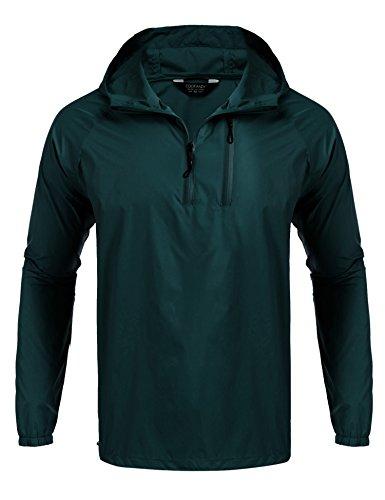 ight Waterproof Rain Jacket Packable Outdoor Hooded Long Raincoat Dark Green ()