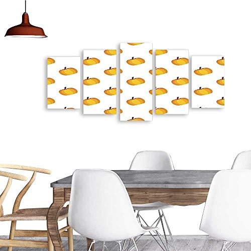 UHOO 5 Piece Wall Art Painting PrintOrange White Holiday Seamless Halloween Pattern. odern Decoration Living Room ()