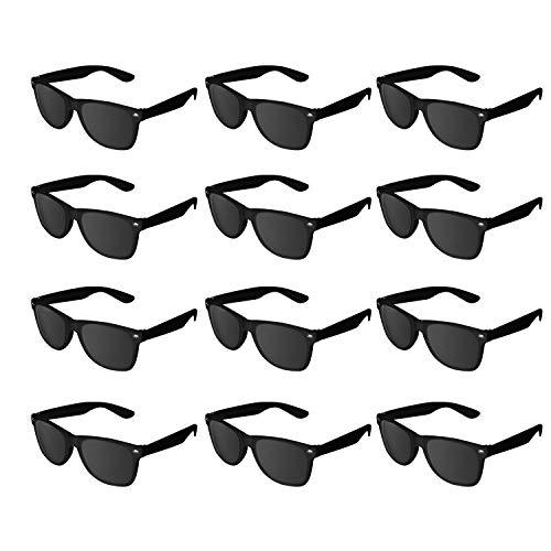 Super Z Outlet Plastic Vintage Retro Style Sunglasses Classic Shades Eyewear Party Prop Favors (12 Pairs) (Black) -