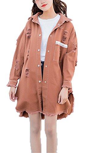 a3371082359bc5 Beiläufig Stilvoll Langhülse Jeans Mädchen Mantel Damen Mode Jeansjacke  Emin Jacket Denim Macaron Farbe Frauen Herbst ...