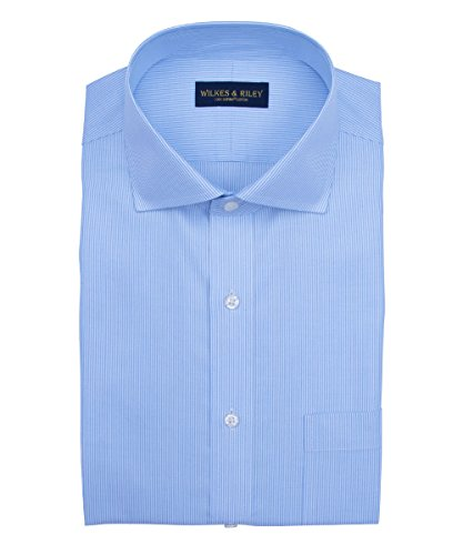 Non Iron Twill Stripe Dress Shirt (Wilkes & Riley, Slim Fit, Non-Iron Blue twill Stripe English Spread)