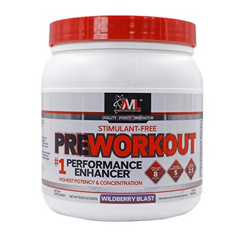 Advanced Molecular Labs - Stimulant-Free Preworkout Powder, Performance Enhancer, Increases Drive, Wildberry Blast, 18.06 Ounces