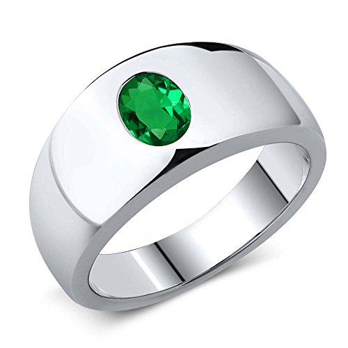 - 1.15 Ct Oval Green VS Nano Emerald 925 Sterling Silver Men's Ring