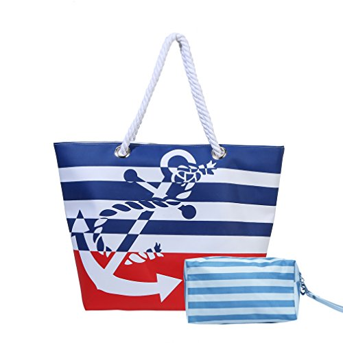 Waterproof Beach Bag Extra Large Summer Tote/Top Magnet Clasp Bag With Cotton Rope Handles (Red Set)
