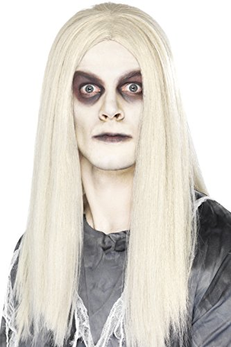 Grey Adult Witch Wig (Smiffy's Men's Long White Wig, One Size, Ghost Town Indian Wig,5020570298046)