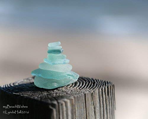 Beach Photography- Cairn Photo Print of Stacked Aqua Beach Glass