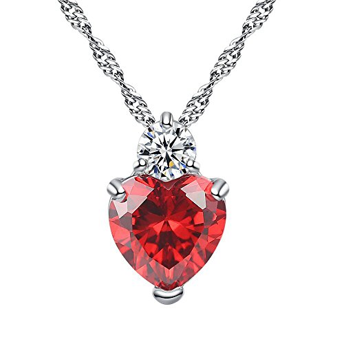 Alueeu Crystal Necklace Pendant Jewelry Stainless Gift Heart for Women Romantic Fashion Classic Luxury Rhinestones Pen Red (Beaded Pen Daisy)