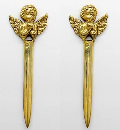 Crystal Collection 1 Set of 2 pcs Angel Handmade Vintage Collection Brass Mail Opener, Envelope, Letter Opener -