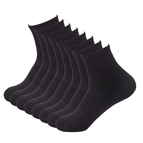 Sock Amazing Bamboo Socks Black Quarter Socks for Men Women 8 Pack Cushion Socks Casual Socks, 10-13