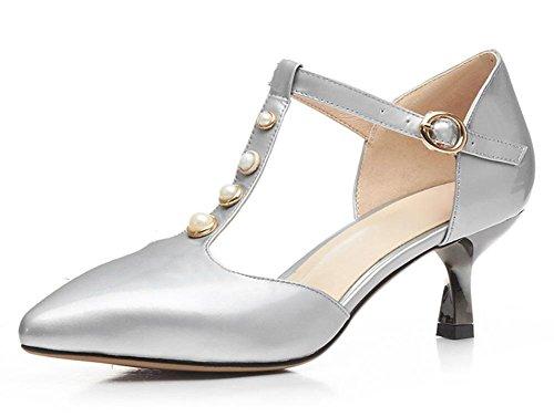 Verano zapatos de tacón alto de las sandalias de Baotou fina con perlas Silver