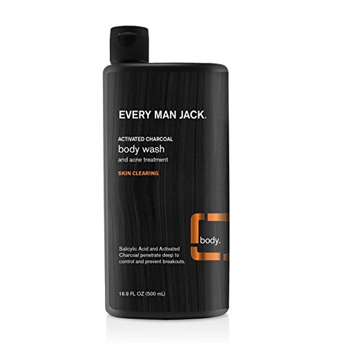 Every Man Jack Body Wash, Activated Charcoal, 16.9 Fluid Ounce (Pack of 6)