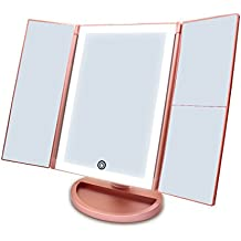 CZW Tri-Fold Lighted Vanity Makeup Mirror with 36 LED Lights, Touch Screen and 3X/2X/1X Magnification Mirror, Two power Supply Mode Tabletop Makeup Mirror,Travel Cosmetic Mirror