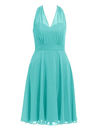 Cdress Halter Short Bridesmaid Dresses Chiffon Prom Homecoming Dress V-Neck Party Cocktail Gowns US 22W Turquoise