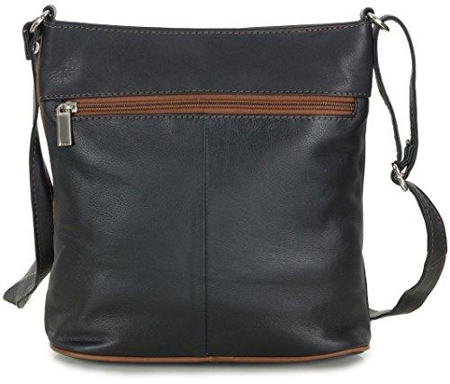 0c5f9584a6035 ... Kleine Damen Handtasche Leder Umhängetasche Crossover Bag italienisch  schwarz mit cognac braun (24x24x8 cm) ...