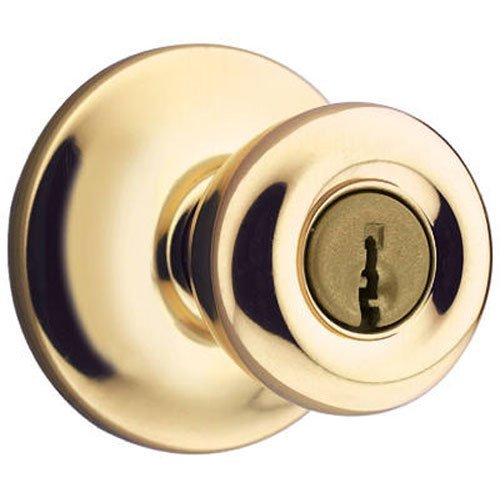 KWIKSET 400T 3 6AL RCS Polished Brass Finish, Tylo Entry Lockset, Inside Knob Locked/Unlocked by Turnbutton, 7/8 Diameter Adjustable Deadlatch Fits Both 2-3/8 & 2-3/4 Backsets by Kwikset