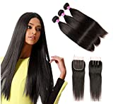 #4: Blowing Straight Hair 3 Bundles with Closure Brazilian Virgin Hair Three Part Lace Closure with Bundles 8a Straight Human Hair Weft with Closure Three Part Natural Color(10 12 14+10,Three part)