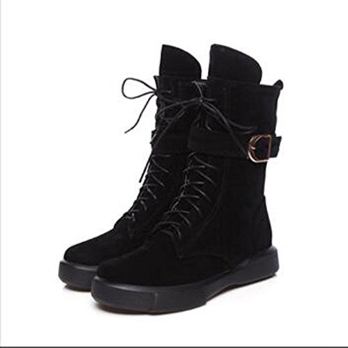 ZQ@QXOtoño e Invierno de cabeza redonda con una base plana, elegante y versátil con gran número de alumnos Martin botas botas botas de cilindro corto hembra, negro,42 42|Black