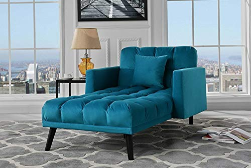 Campton Velvet Upholstered Chaise Lounge, Reclining Single Seater Sofa w/Pillow, Blue | Model LNGCHR - -