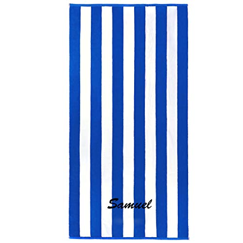 Kaufman - Personalized 32in x 62in Joey Velour Cabana Stripe Beach and Pool Towel 100% Cotton Embroidered (Blue) (Towels Beach Embroidered)