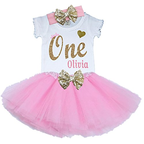 Bella Fashion Kidz Girl First Birthday Tutu Outfit Pink and Gold Personalized 1st Glitter Dress Set (2T, 3 Piece (Personalized Toddler Dress)