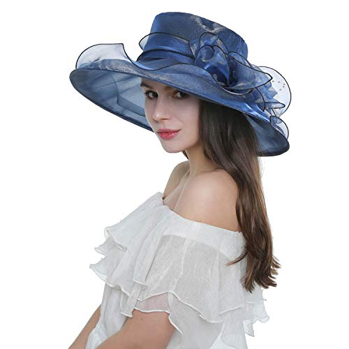 Women's Kentucky Derby Hat Wide Brim Foldable Organza Hat Tea Party Church Fascinator Hat Cap