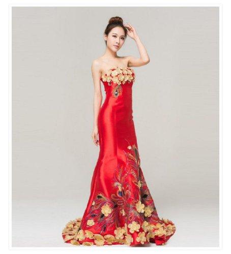 Hochzeit Meerjungfrau Reihe formale Emily Stickerei Trägerloses Beauty Rot Abend lange wvnSq0Y8xB