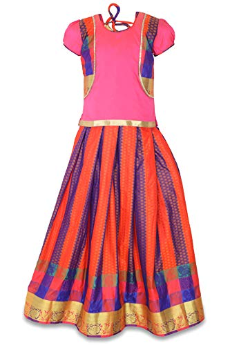 - kaatru Thana Silk Girls Pavadai Set D10 - Lehenga Choli (Orange & Pink) (1-2 Y)