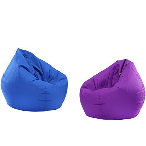 Fityle 2 Pieces Royal Blue & Purple Bean Bag Cover, Bean Bag without Filling, Kids Comfy Chair Comfortable Seating Cover, Waterproof by Fityle
