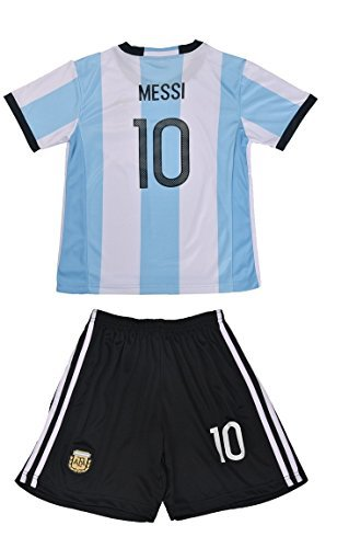 Zombie Soccer Player Costume (FWC 2014 Argentina Home Messi 10 Futbol Football Soccer Kids Jersey & Short (14-16 YEARS))
