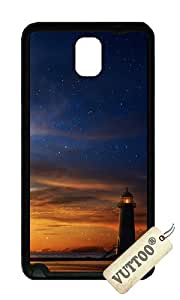 Samsung Note 3 Case,VUTTOO Stylish Dusk Lighthouse Soft Case For Samsung Galaxy Note 3 / N9000 / Note3 - TPU Black