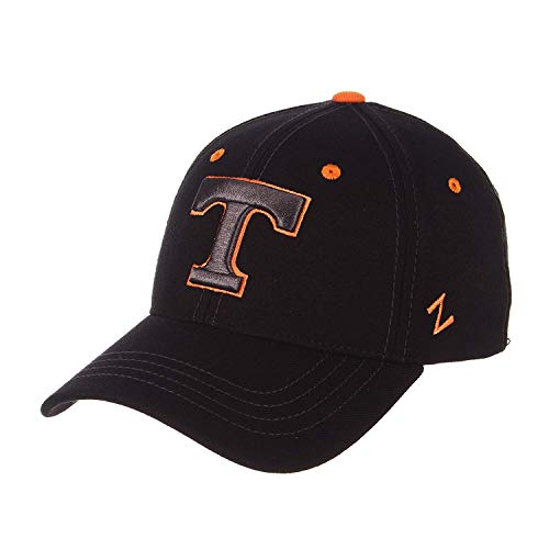 (Zephyr University of Tennessee Volunteers TN Vols Black Element DH Mens/Womens Top Fitted Baseball Hat/Cap Size Medium Large)