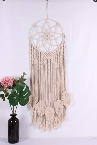 OurWarm Boho Dream Catcher Macrame Wall Hanging, Large Handwoven Dreamcatcher with Feather Leaf and Canvas Bag for Kids Bedroom Bohemian Wedding Farmhouse Home Decor, 36 x 13 Inches