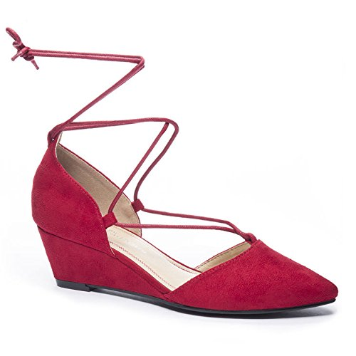 Red Suede Wedge (CL by Chinese Laundry Women's Trissa Ghillie Wedge Pump, Chili Red Super Suede, 8 M US)