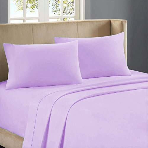 Sona Bedding Solutions Soft & Cozy Egyptian Cotton 300 Thread Count 4 PCs Bed Sheet Set (Flat Sheet, Fully Elasticized Fitted Sheet & 2 Pillow Cases) Lilac, Cal King, Pocket Size 23 Inches