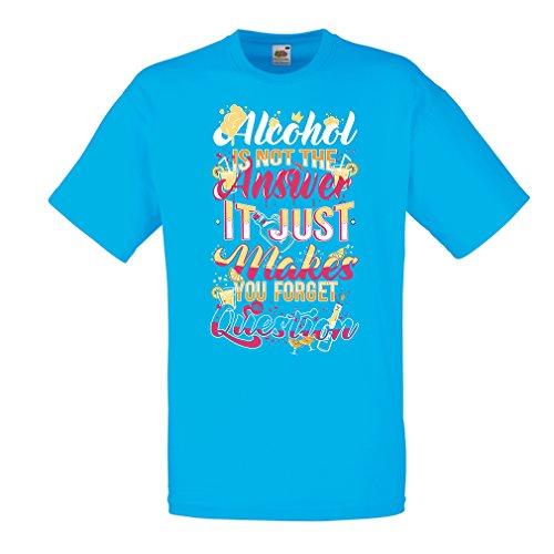 lepni.me Camisetas Hombre El Alcohol no es la Respuesta Solo te Hace Olvidar la Pregunta, Gracioso, Cerveza, Concierto,...