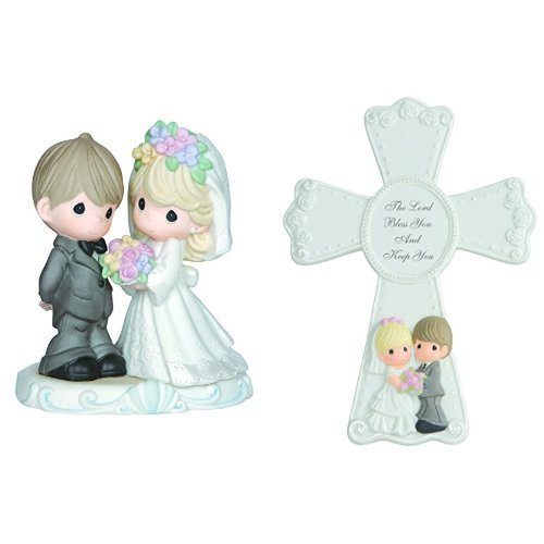 Precious Moments, Wedding Gifts, The Lord Bless You And Keep You Bisque Porcelain Figurine and Cross with Easel Stand