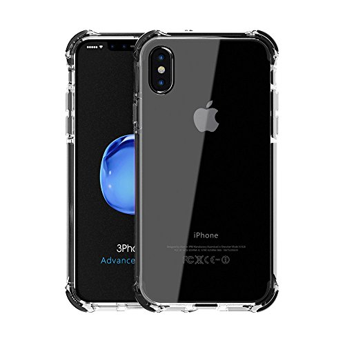 RhiTech 360 Front and Back Full Coverage Protection Clear iPhone X Case | Supports Wireless Charging | iPhone X 3 in 1 Ultra Slim Case | Bonus 3D iPhone X Tempered Glass Screen Protector [Black]
