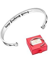 9a994e62e49 Keep Going Cuff Bracelet Inspirational Mantra Quote Bracelet for Women  Stainless Steel Graduation Friendship Bracelets Jewelry
