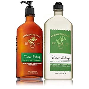 Bath & Body Works Aromatherapy Stress Relief - Eucalyptus + Spearmint Body Lotion, 6.5 Fl Oz + Body Wash & Foam Bath, 10 Fl Oz