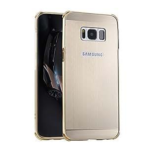 BtDuck - Carcasa para Samsung Galaxy S8Plus (6,2pulgadas), aluminio metalizado efecto espejo, 2en 1(borde de metal y parte trasera de plástico de policarbonato), antichoques, semitransparente + 1lápiz táctil negro, dorado