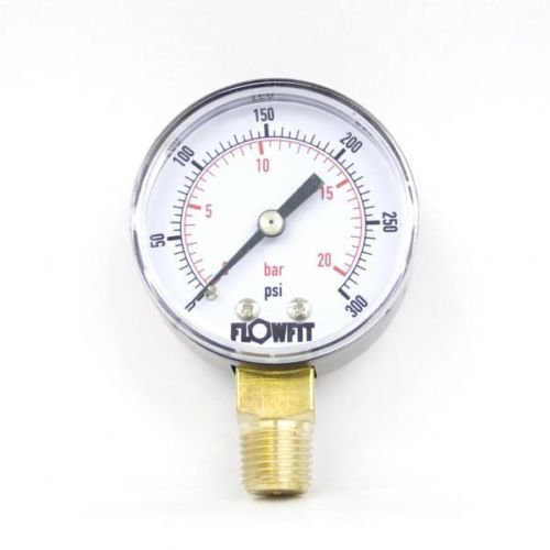 50mm Dry/Pneumatic pressure gauge 0-300 PSI (21 BAR) 1/4' bsp base entry Flowfit